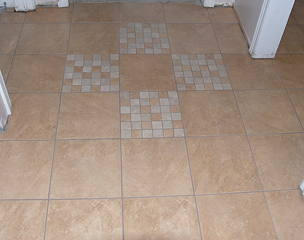 Ceramic tiles in kitchen hall and bathroom in Brampton Ontario
